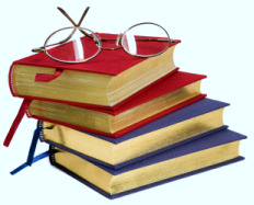 Glasses on top of 4 books representing 4 science editing services